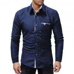 Five-pointed Star Printed Men's Casual Long-sleeved Shirt Slim -