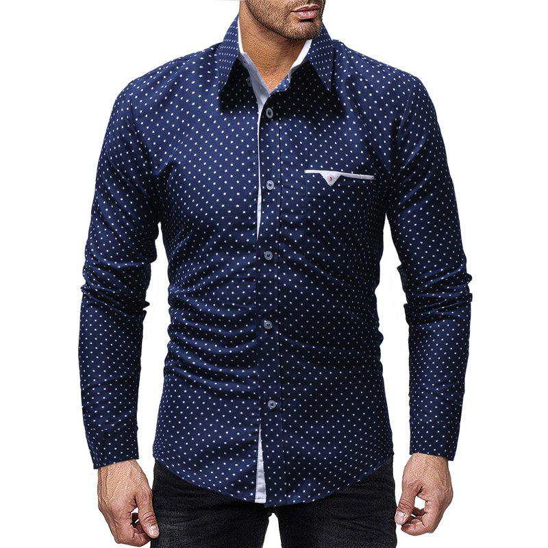 Affordable Five-pointed Star Printed Men's Casual Long-sleeved Shirt Slim