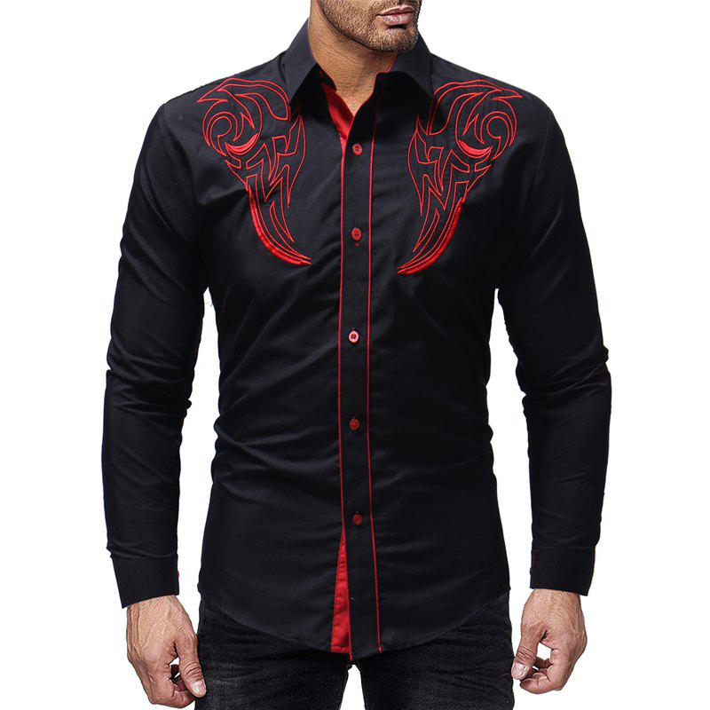 Store Fashion Totem Embroidery Men's Casual Slim Long Sleeve Shirt