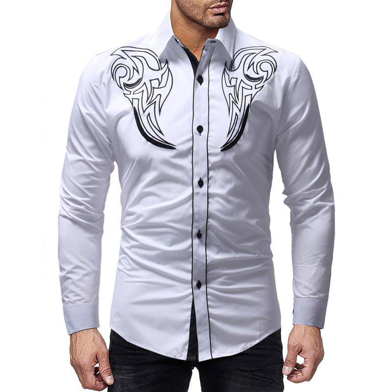 Hot Fashion Totem Embroidery Men's Casual Slim Long Sleeve Shirt