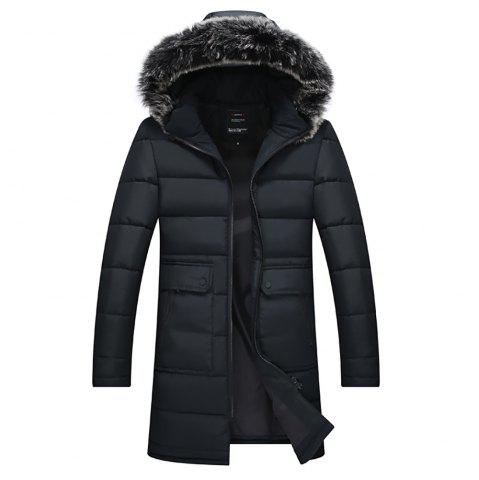 Zipper Pocket Cotton Coat with Fur Trim Hood