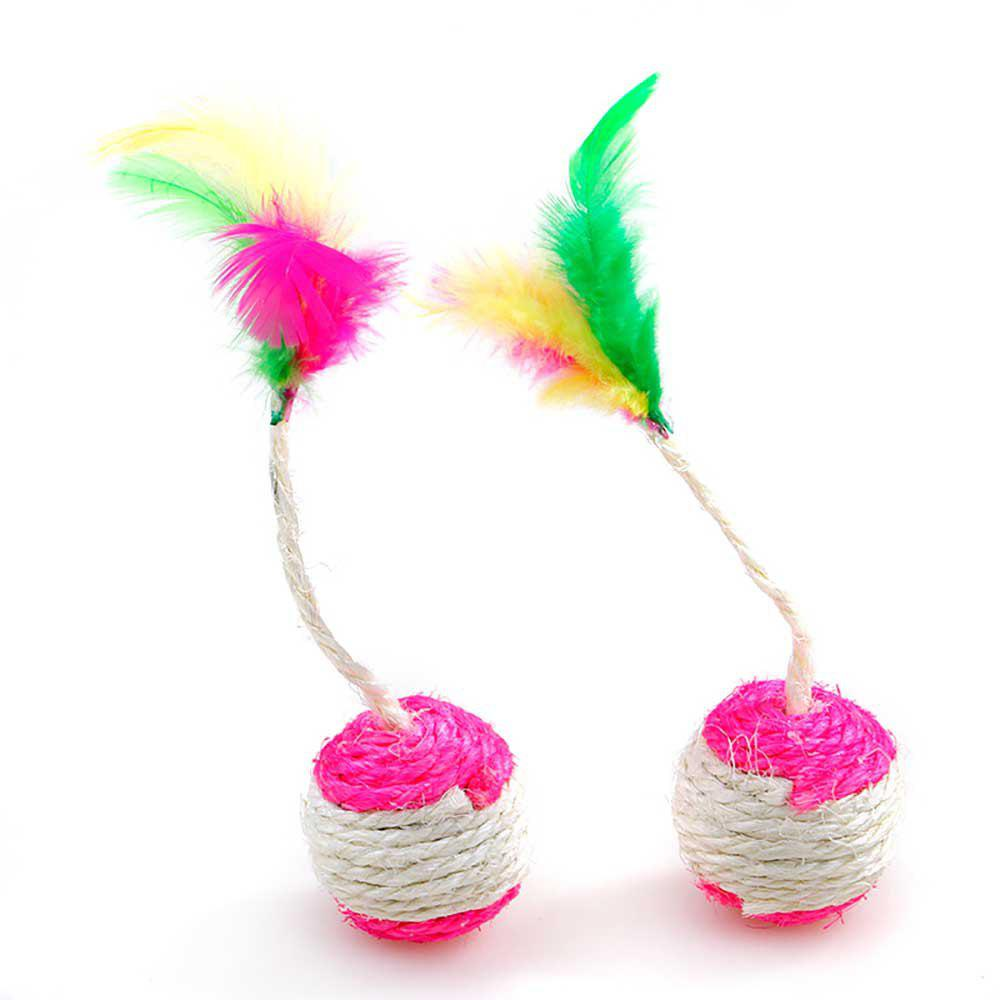 Hot 2 Pieces Colour With Feather Hemp Ball Scratch Resistant Mini Cat Toy