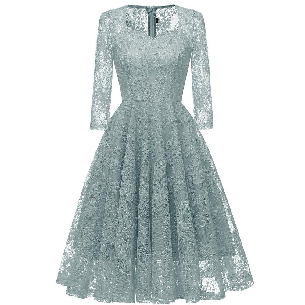 Cheap Seven-Point Sleeve Embroidered Sexy Lace Dress
