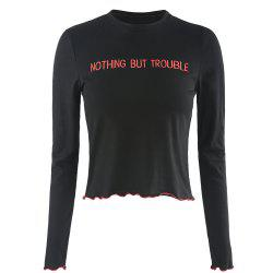 HAODUOYI Women's Stylish and Simple Wild Letter Embroidery T-Shirt Black -