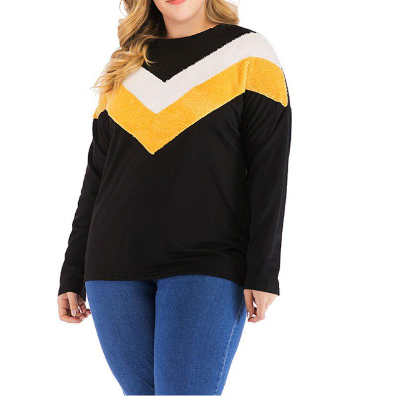 Latest Fleece Stitching Long Sleeve Large Size Women'S Sweater