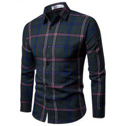 2018 New Men'S Slim Plaid Long-Sleeved Shirt -