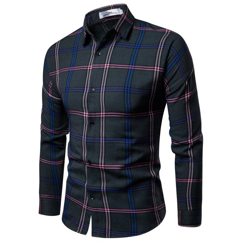 Shops 2018 New Men'S Slim Plaid Long-Sleeved Shirt