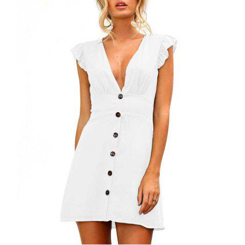 Sexy V Collar Button Design Waist Waist Dress