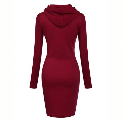 New Women'S Casual Solid Color Long V - Neck Long Sleeve Dress in Autumn and Win, Red