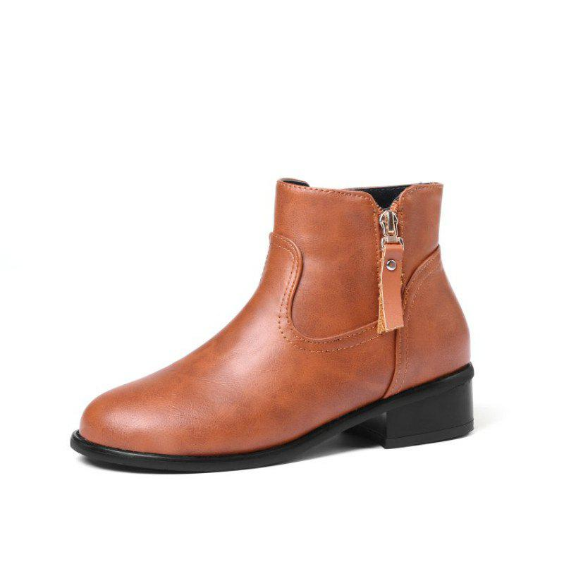 Fancy Round Head Rough and Low Fashion Student Boots