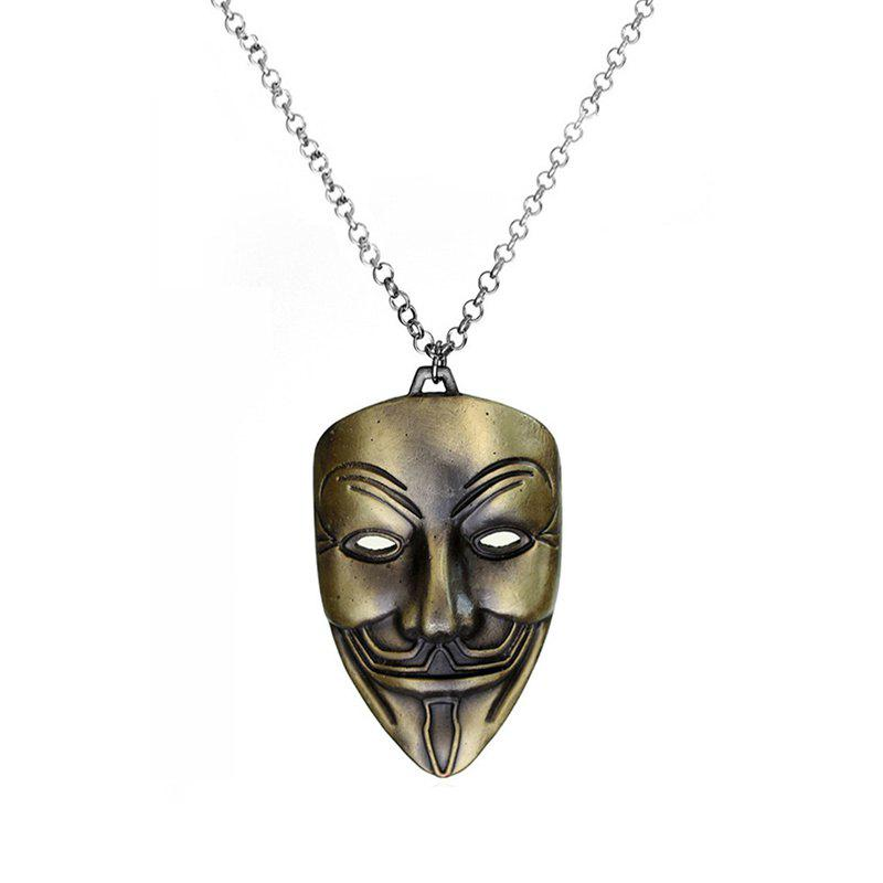 Shops Men's Casual Style Mask Pendant Alloy Necklace Sweater Chain