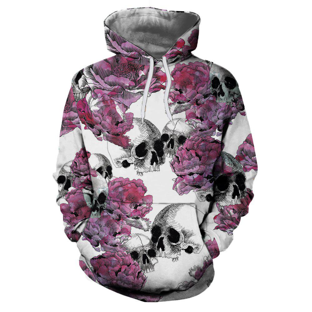 Online Flower Skull Casual Fashion 3D Printing Men New Hoodie