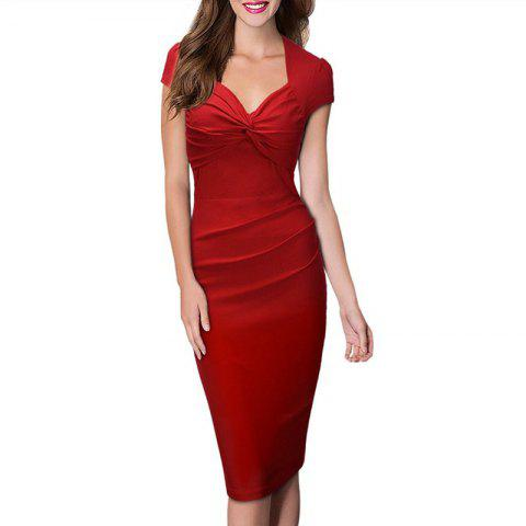 Women's Sweet Heart Solid Color Cap Sleeve Plain Pleated Slim Pencil Dress