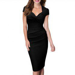 Women's Sweet Heart Solid Color Cap Sleeve Plain Pleated Slim Pencil Dress -