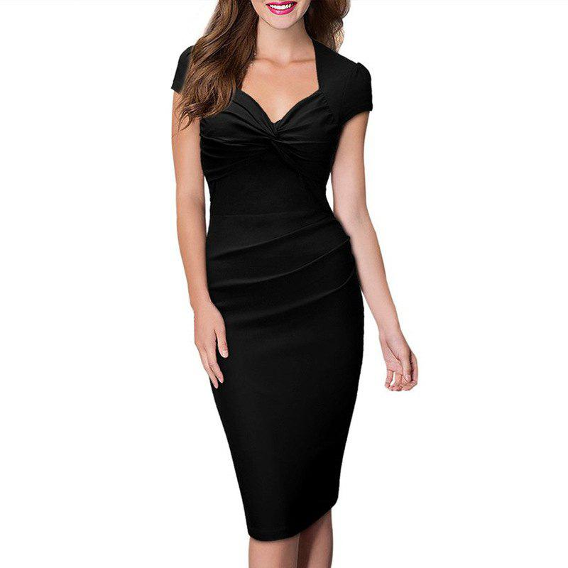 Outfit Women's Sweet Heart Solid Color Cap Sleeve Plain Pleated Slim Pencil Dress