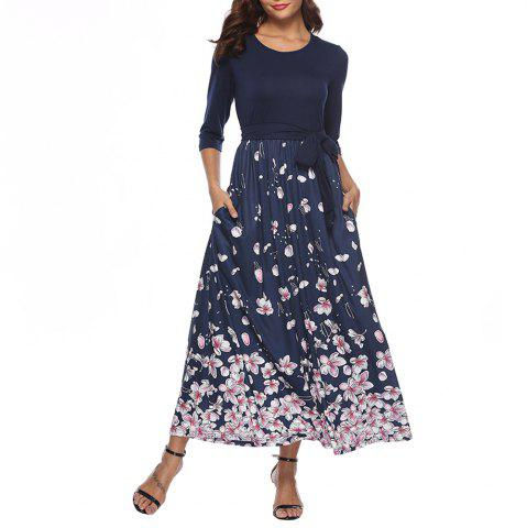 Women's O-neck Half Sleeve Florals Print Patchwork Sashes Maxi Dress