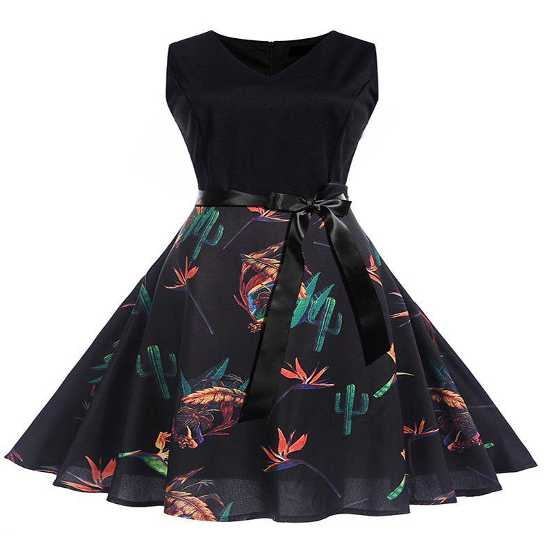 Outfits Women'S Patchwork Belted Print Dress