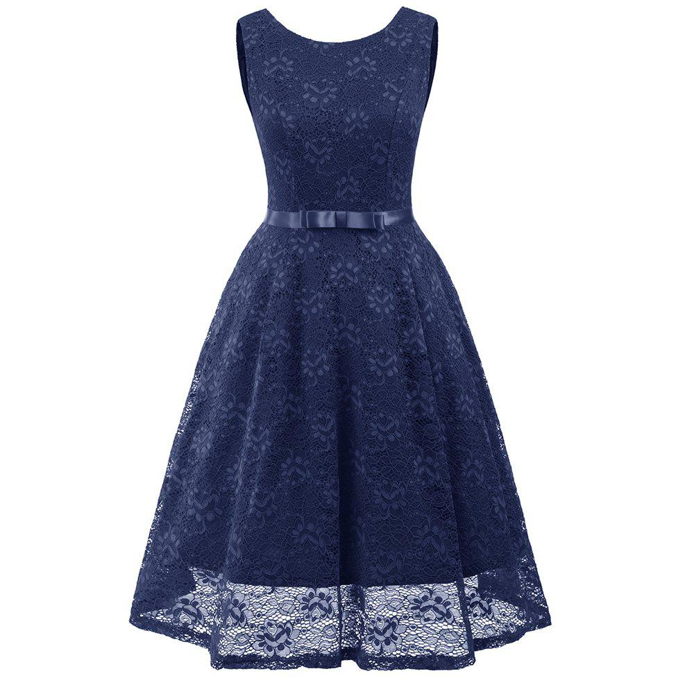New Autumn and Winter Women'S Dress Bow Lace Sexy Big Dress