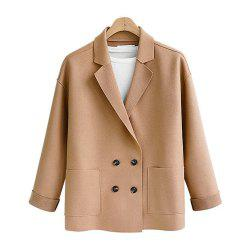 Women's Plus Size Coat Long Sleeve Notched Collar Solid Color Loose Coat -