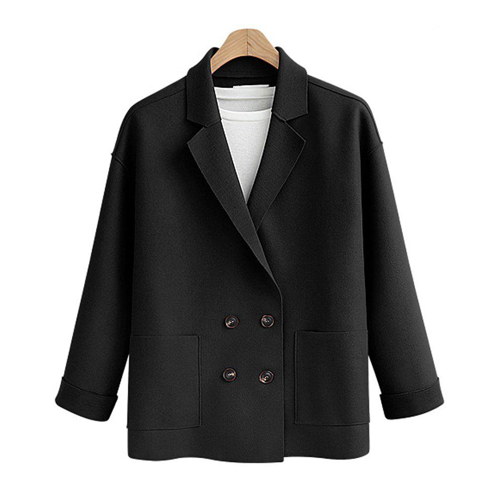 Fancy Women's Plus Size Coat Long Sleeve Notched Collar Solid Color Loose Coat