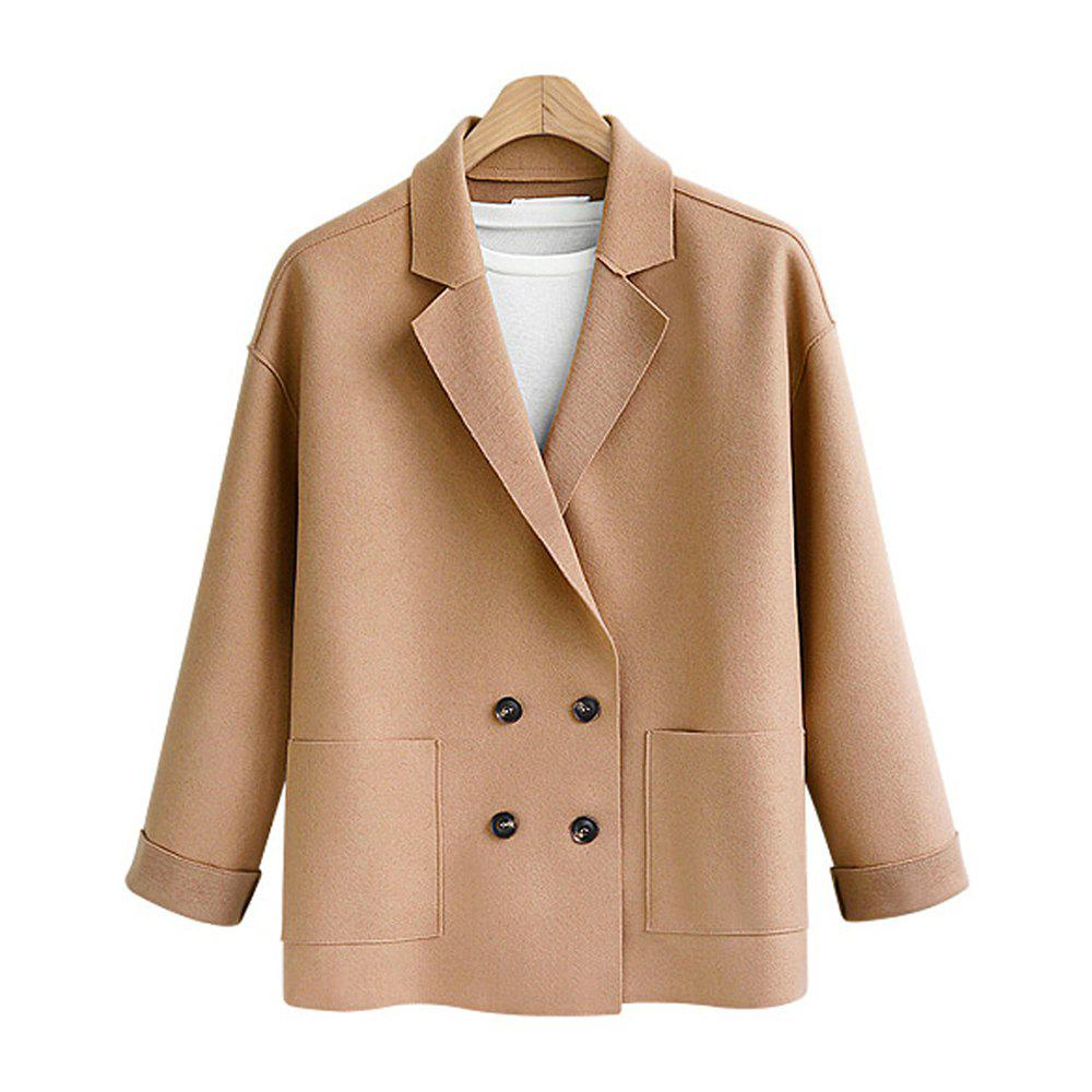 Best Women's Plus Size Coat Long Sleeve Notched Collar Solid Color Loose Coat