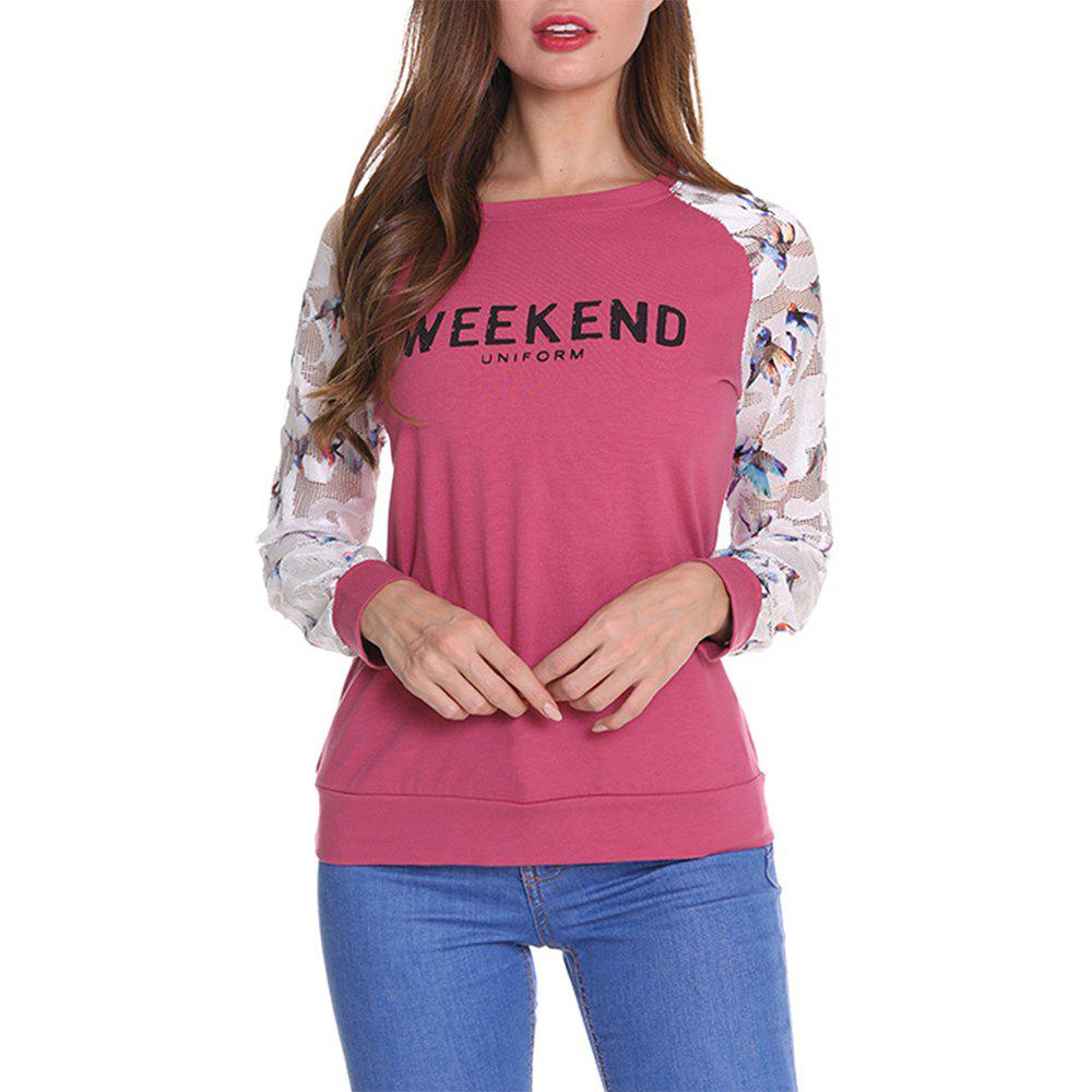 f385a37cce Women's T Shirt Long Sleeve Letters Pattern Floral Patchwork Floral Top