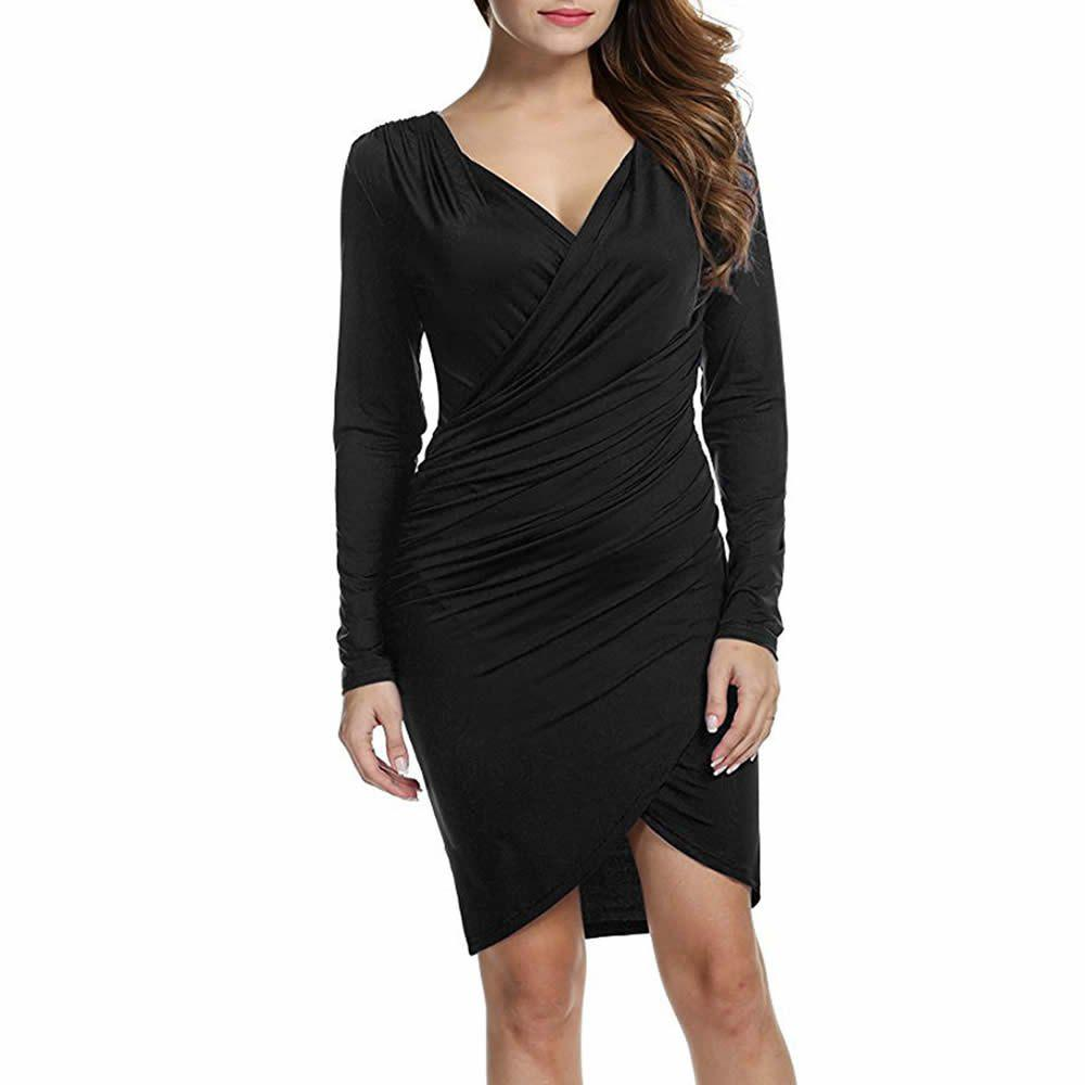 Cheap Deep V Skinny and Long Sleeved Dress