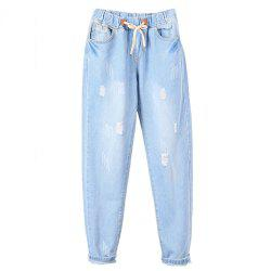 Women'S Elastic Waist Pants Nine Points Jeans -