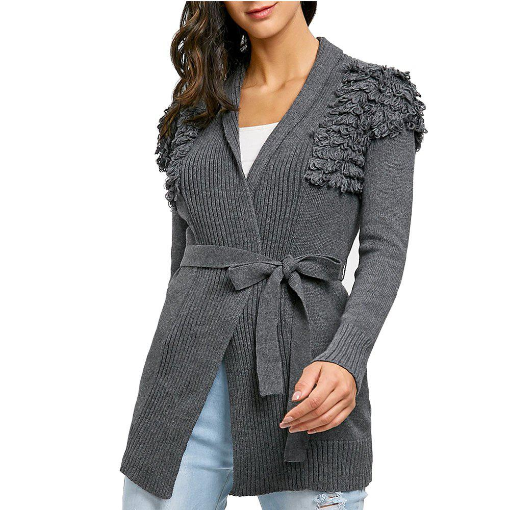 Sale Fashion Slim Knit Belt Hand Applique Knitting Cardigan Sweater