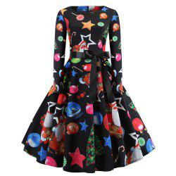 Christmas Print Long Sleeve Large Dress Women's Dress -