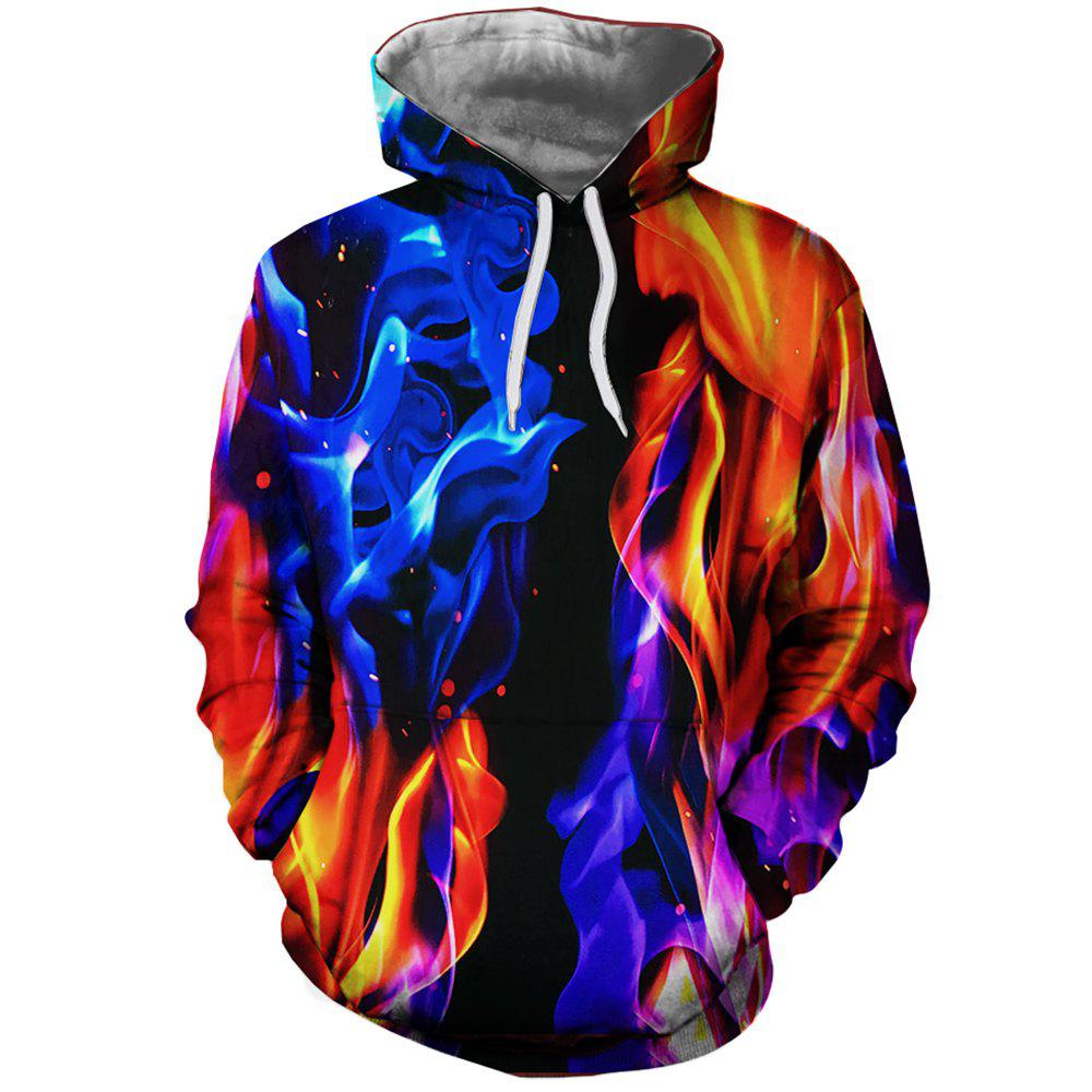 New Fashion Men's 3D Print Flame Map Hoodie