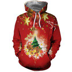 Fashion Men's Digital Print Christmas Flower Hoodie -