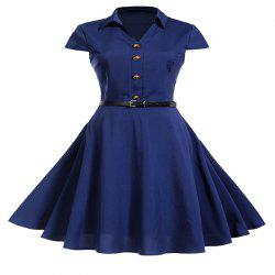 Dress Dresses in Solid Color with Short Sleeves -