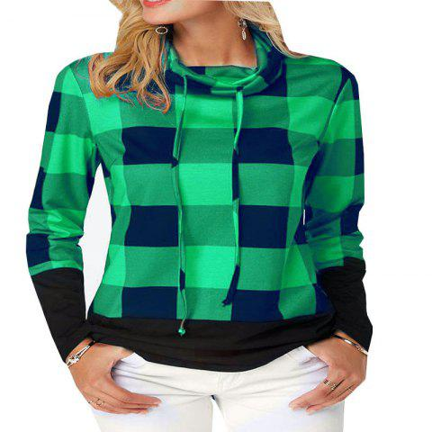 d7e374f9610 New Women S Long Sleeve Shirt with High Collar and Plaid