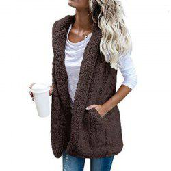 Women'S Hooded Cardigan Sleeveless Vest Jacket -