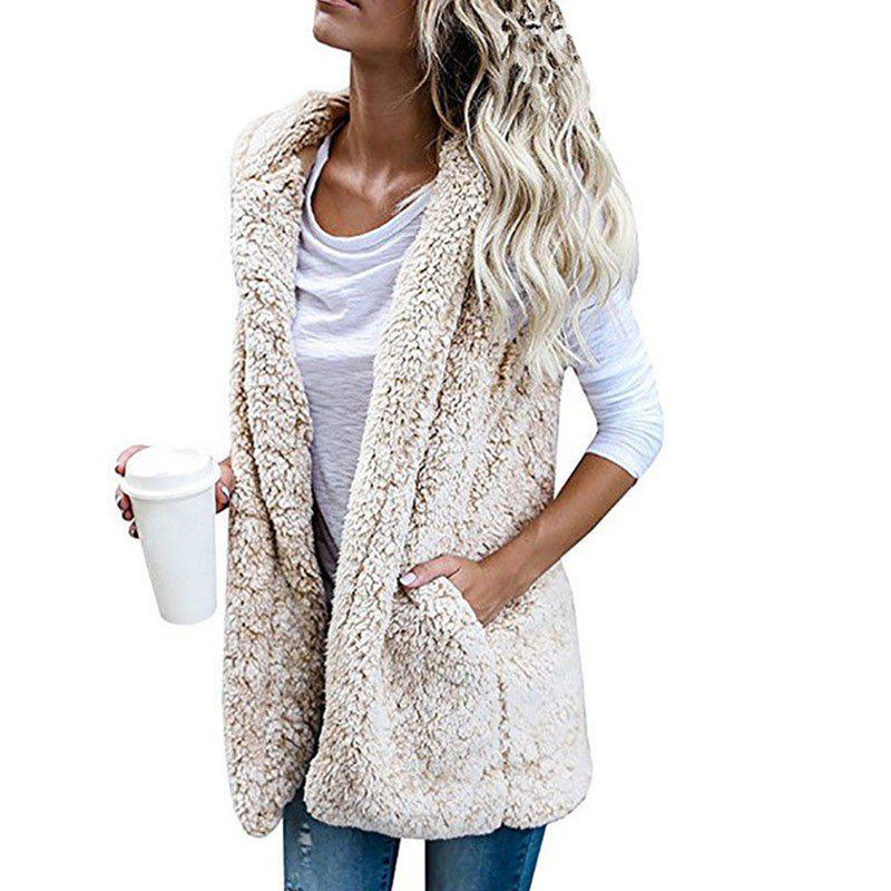 Trendy Women'S Hooded Cardigan Sleeveless Vest Jacket