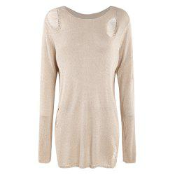KISSMILK Women'S Openwork Bright Silk Sweater Yellow -