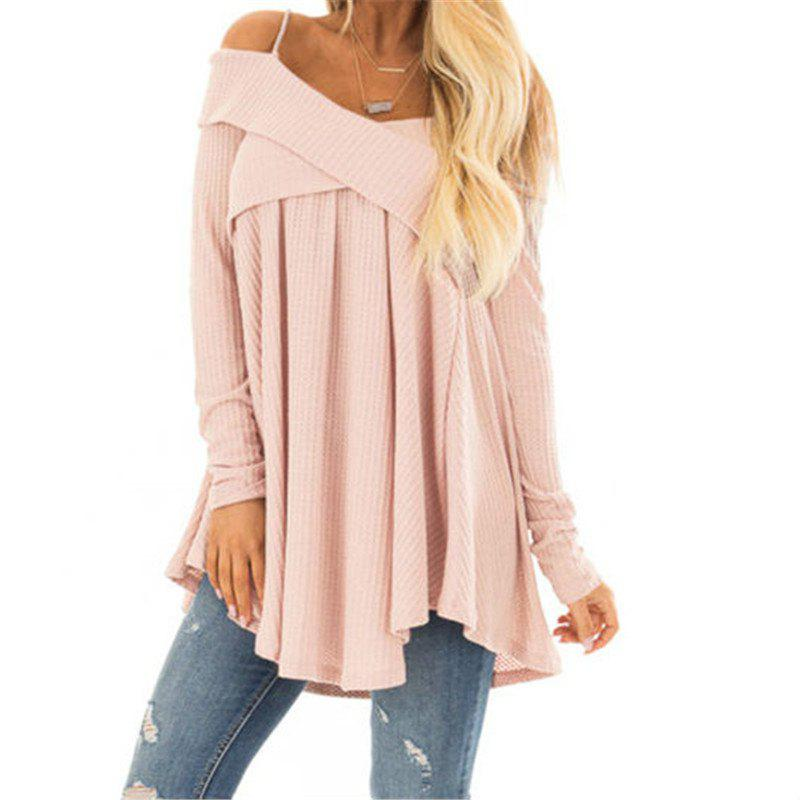 Trendy Straps with Long Sleeves Crossed Collar Tops