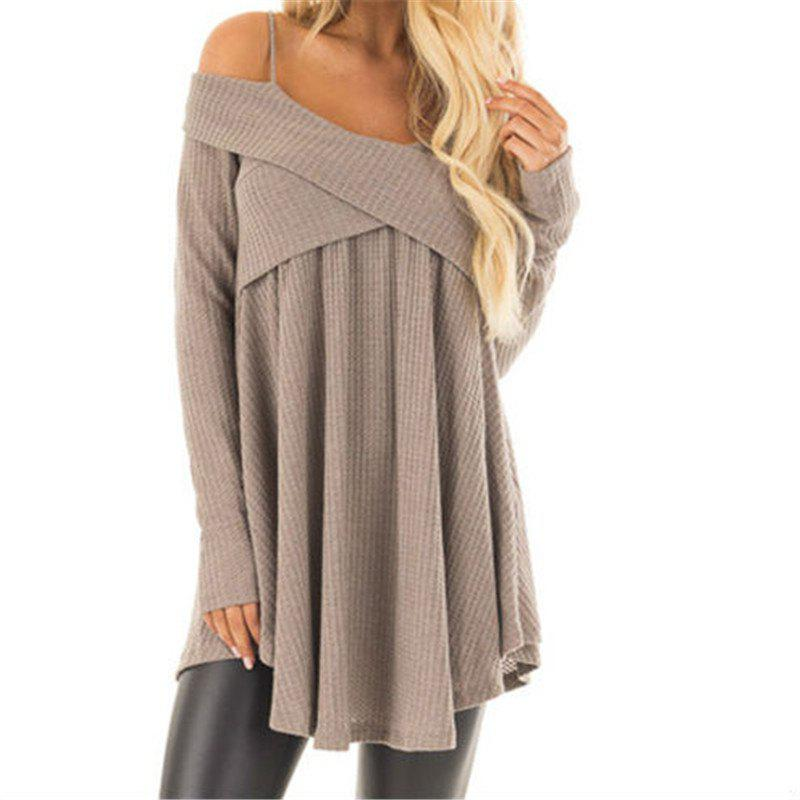Cheap Straps with Long Sleeves Crossed Collar Tops