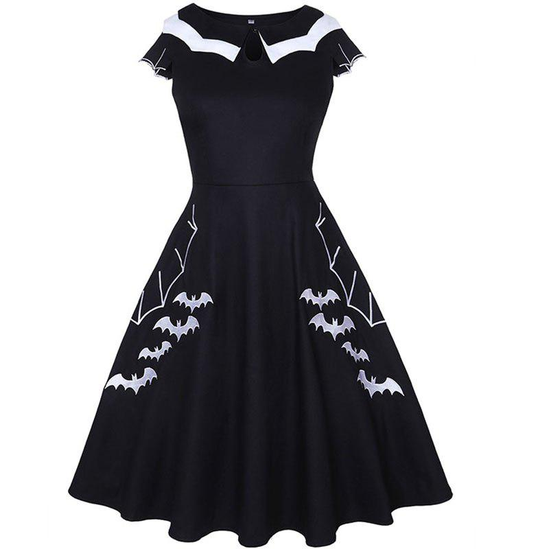 Fashion Halloween Bat Embroidery Party Dress