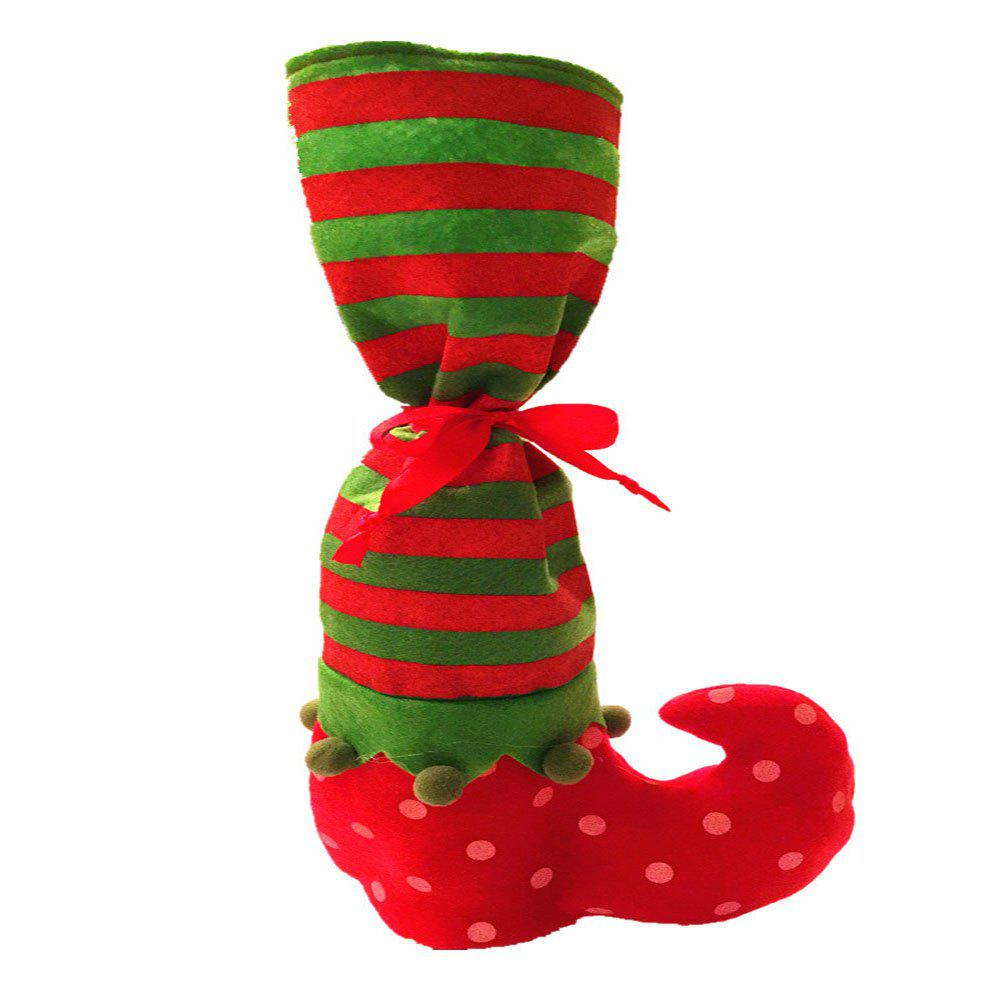 Discount Point Stripe Christmas Stocking Candy Pouch Wine Bottle