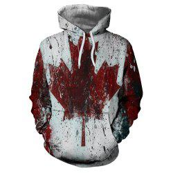 3D Winter Men's Fashion Casual Maple Leaf Print Patch Pocket Hoodie Sweater -