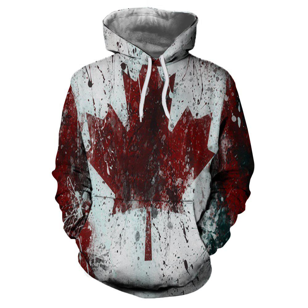 Cheap 3D Winter Men's Fashion Casual Maple Leaf Print Patch Pocket Hoodie Sweater