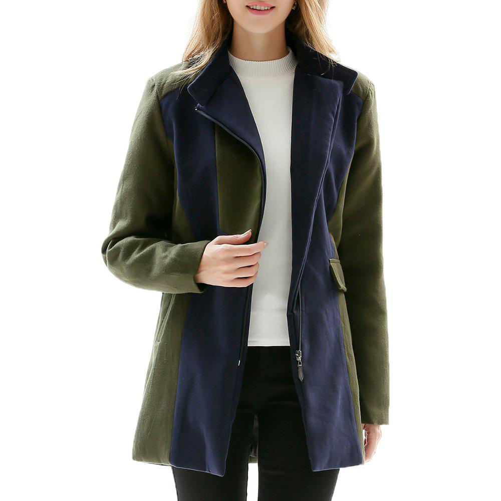 Trendy Large Size Women's Decoration Body Collar Collar Color Long-Sleeved Woolen Coat