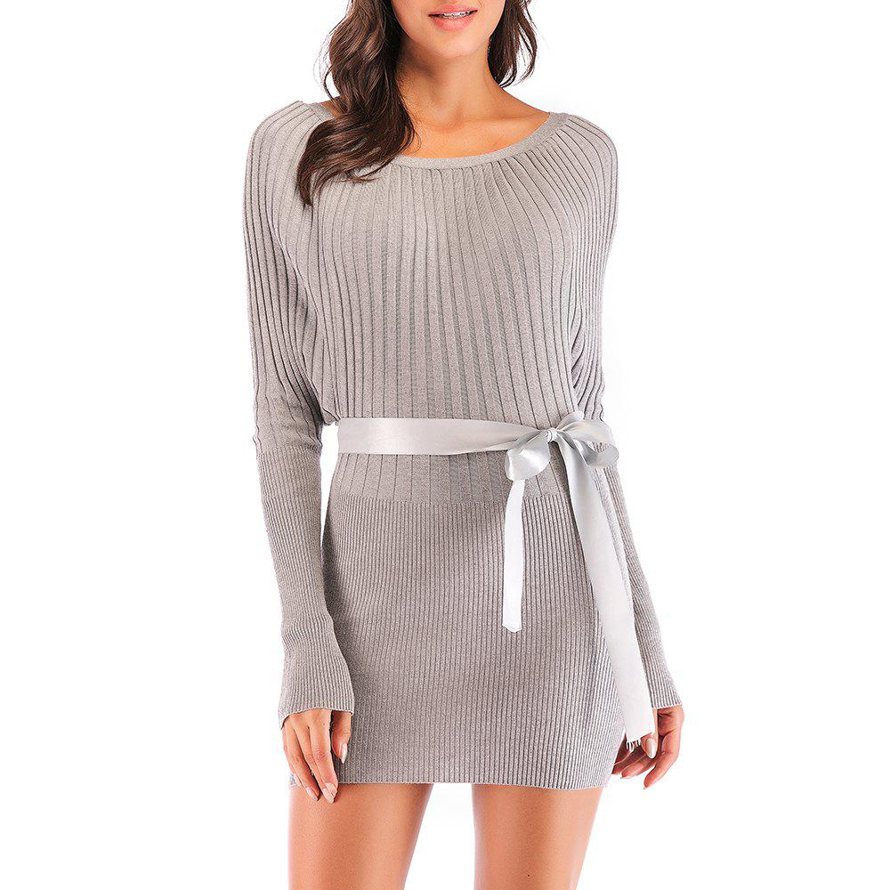 Discount Ladies Fashion Thin Pack Hip Bat Sleeve Knit Sweater Dress