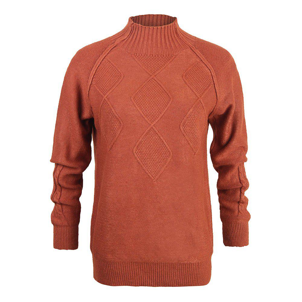 Trendy Ladies  Hooded Loose Half-High Collar Solid Color Long-Sleeved  Bottoming Sweater b6fb78379