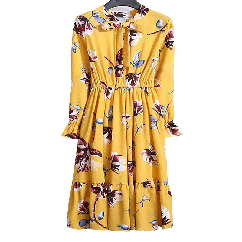 Shops Chiffon Chiffon Dress with Floral Pattern and Long Sleeves