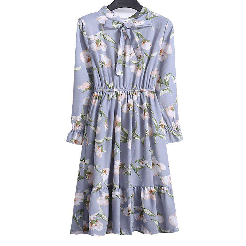 Online Chiffon Chiffon Dress with Floral Pattern and Long Sleeves