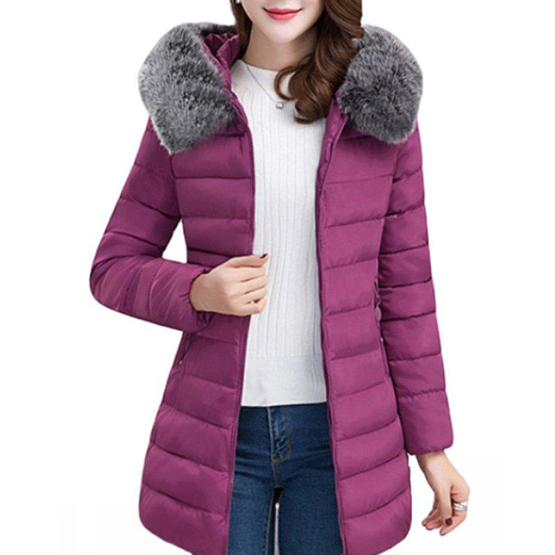 Outfit Women'S Slim Fur Collar Long Thick Comfortable and Lightweight Cotton Coat