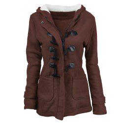 Women'S Cotton Long-Sleeved Hooded Wool-Blend Horn Leather Buckle Winter Coat -